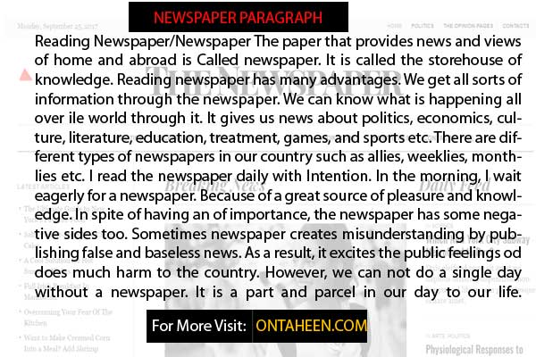Essay  Paragraphs On Newspapers For Students  Ontaheen Paragraph On Newspaper