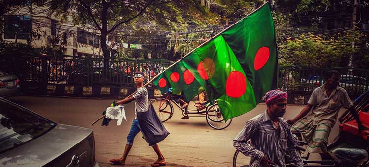National Flag During the Victory of Bangladesh