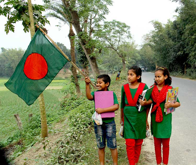 School Students With Bangladesh Nationa Flag