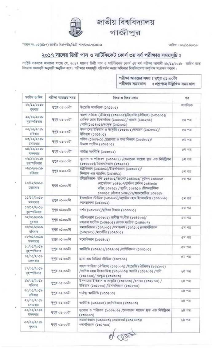 National University Degree 3rd Year Routine New