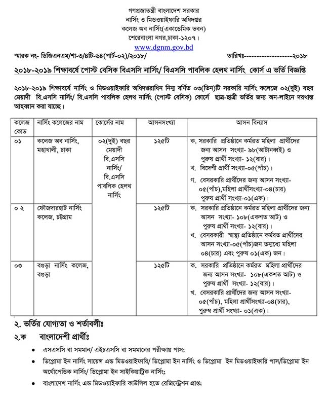 BSC In Nursing Admission Circular