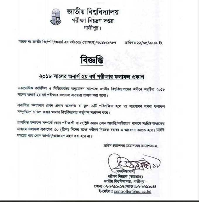 Honour 2nd Year Result