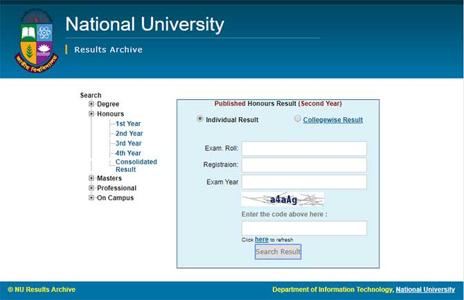 Honours 2nd year result check