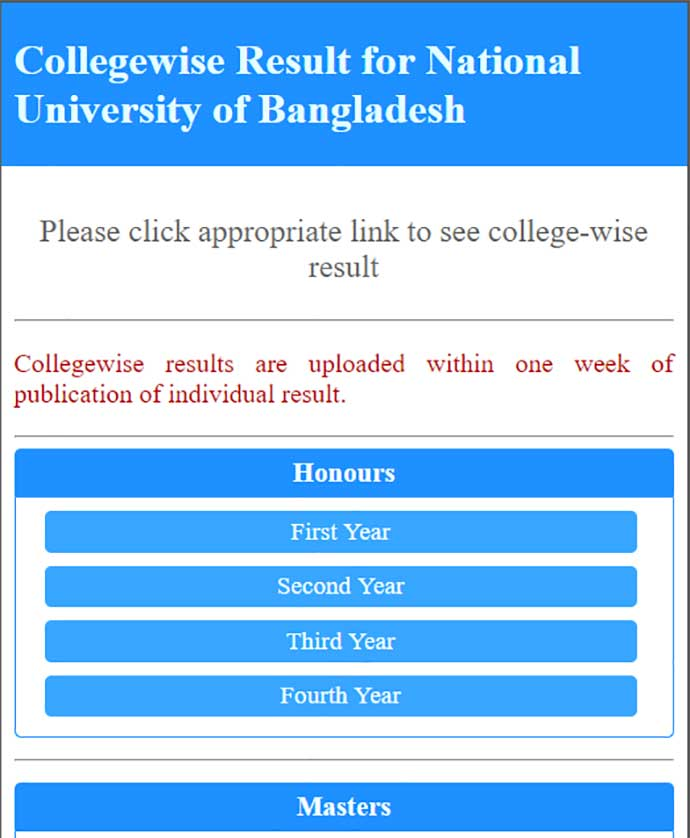 College wise result nu 4th year result