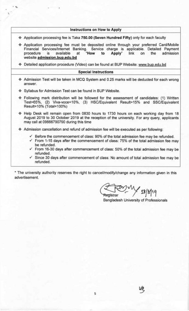 bup admission circular 2020-21 Page five
