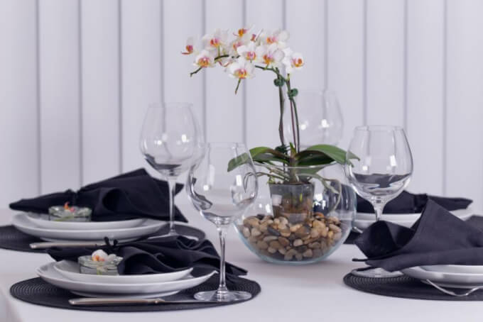 Make a romantic centerpiece with an orchid