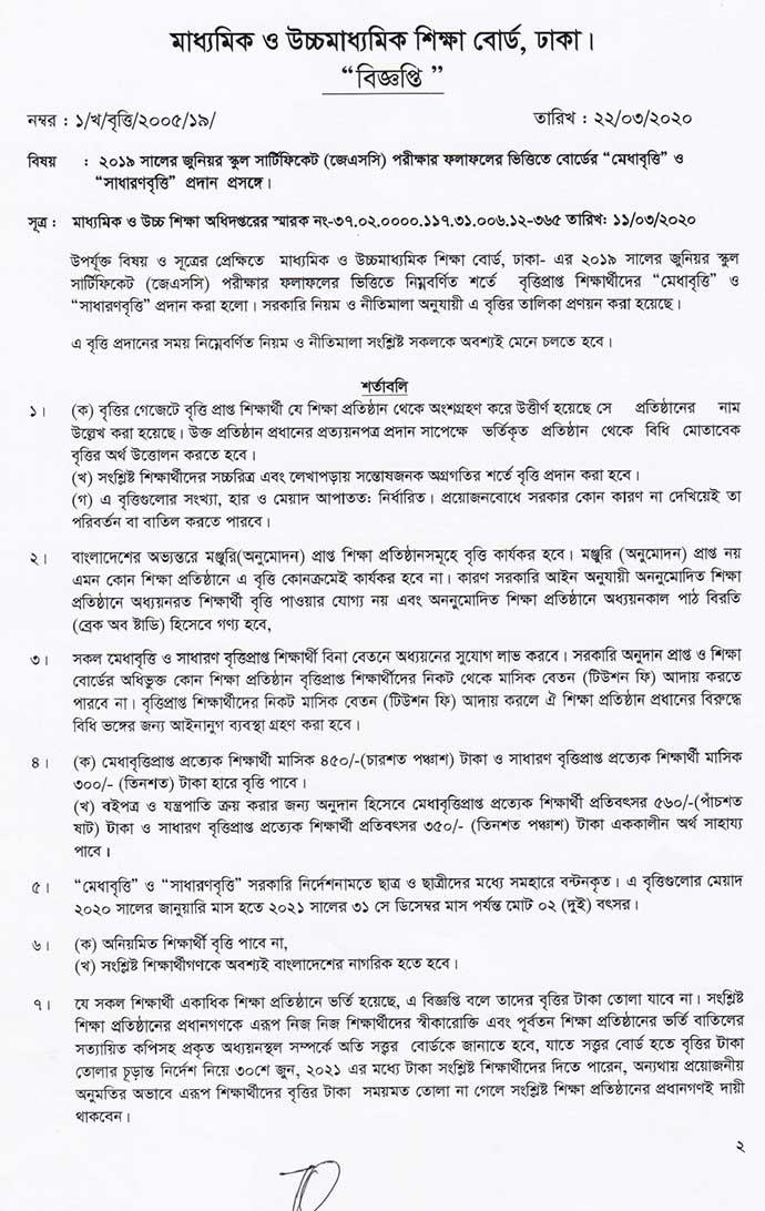 Dhaka Board JSC Scholarship Result 2020