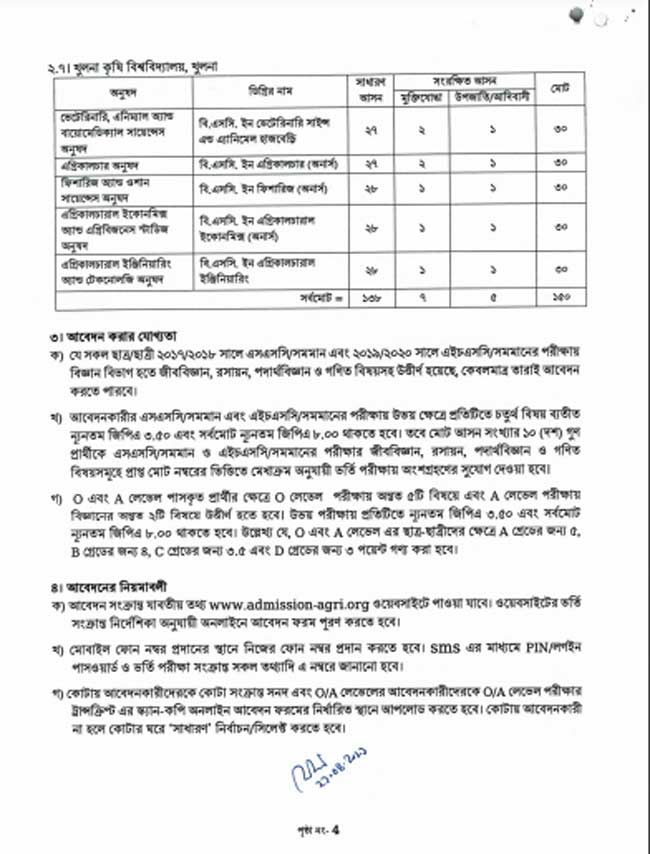 agricultural university admission circular page 4
